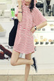 Red and White Plus Size Loose H-Shaped Contrast Stripe Hooded Bat Sleeve Shift Above Kneee Dress for Casual