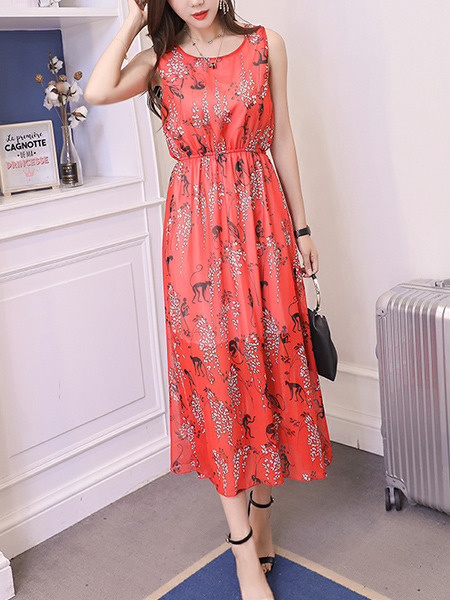 Red Chiffon Plus Size Slim A-Line Round Neck Adjustable Waist Double Layer Midi Dress for Casual Party