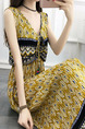 Yellow Colorful Plus Size Loose A-Line Printed V Neck Band Maxi Dress for Casual