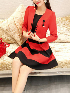 Black and Red Two-Piece Slim A-Line Round Neck Contrast Stripe Buttons Above Knee Dress for Casual Evening Party