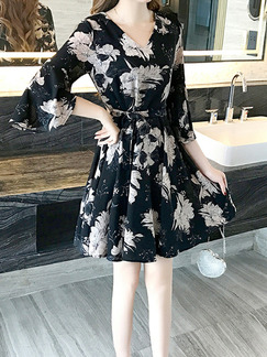 Black and White Chiffon Slim A-Line Printed V Neck Band Belt Flare Sleeve Above Knee Floral Dress for Casual Party Nightclub