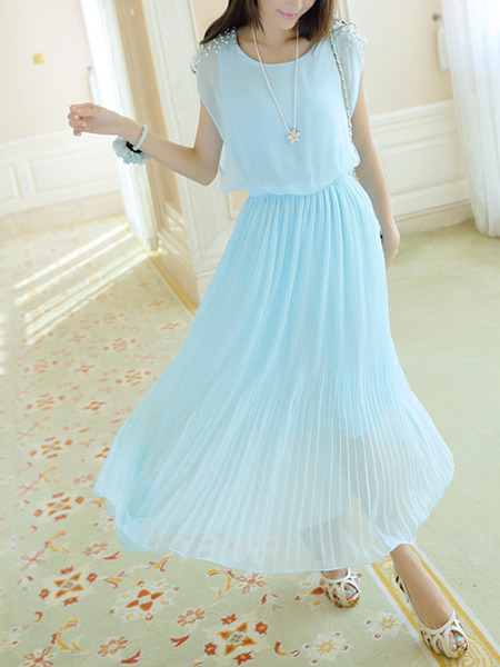 Green and Blue Chiffon Plus Size Slim Round Neck Bead Adjustable Waist Pleated Midi Dress for Casual Party