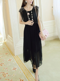 Black Chiffon Plus Size Slim Round Neck Bead Adjustable Waist Pleated Midi Dress for Casual Party