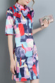 Colorful Slim Printed Chinese Button Over-Hip Cheongsam Above Knee Dress for Casual