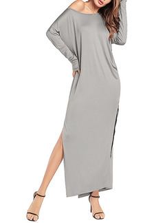 Grey Plus Size Loose Off-Shoulder High Furcal Long Sleeve Maxi Dress for Casual Party Evening