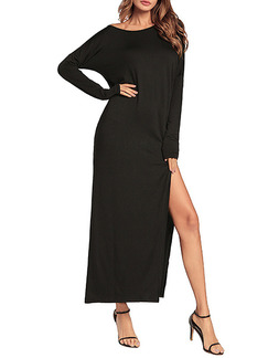 Black Plus Size Loose Off-Shoulder High Furcal Maxi Long Sleevel Dress for Casual Party Evening