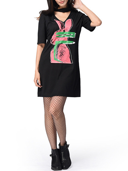 Black and Pink Green Plus Size Slim A-Line Located Printing Hang V Neck Shift Above Knee Dress for Casual