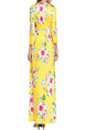 Yellow Colorful Plus Size Slim Printed Round Neck Pockets Full Skirt Long Sleeve Floral Dress for Casual Beach