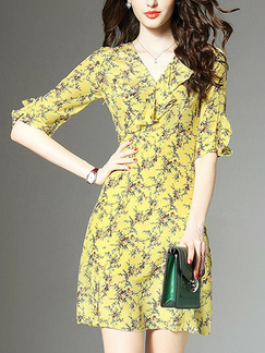 Yellow and Colorful Slim Printed Ruffle Above Knee V Neck Dress for Casual Party
