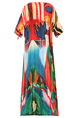 Colorful Plus Size Loose Printed Round Neck Band Cuff Knee Length Dress for Casual Party