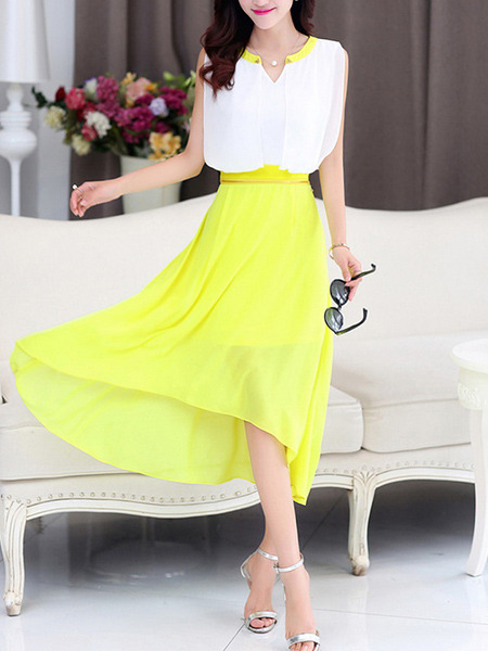 White and Yellow Chiffon Plus Size Slim A-Line Round Neck Contrast Linking Zipper Waist Double Layer Midi Dress for Casual Party Evening