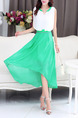 White and Green Chiffon Plus Size Slim A-Line Round Neck Contrast Linking Zipper Waist Double Layer Midi Dress for Casual Party Evening