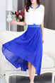 Blue and White Chiffon Plus Size Slim A-Line Round Neck Contrast Linking Zipper Waist Double Layer Midi Dress for Casual Party Evening