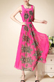 Pink Plus Size Slim Printed A-Line Square Collar Double Layer See-Through Fit & Flare Midi Dress for Casual Party Evening