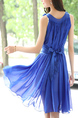 Blue Chiffon Two-Piece Plus Size Loose A-Line V Neck Asymmetrical Hem Double Layer Butterfly Knot Back Above Knee Dress for Casual Party Evening
