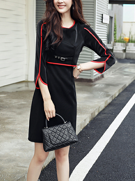 Black Plus Size Slim X-Shaped Round Neck Contrast Linking  Above Knee Sheath Dress for Casual Office Evening Party