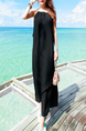 Black Chiffon Loose Sling Open Back Furcal Side Rivet Shoulder Full Skirt Maxi Dress for Casual Party