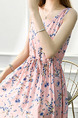 Pink and Blue Plus Size Slim A-Line Printed Round Neck Adjustable Waist Band Belt Fit & Flare Knee Length Dress for Casual Party
