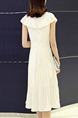 White Loose Pleated Round Neck Cloak Double Layer Chest Flower Knee Length Dress for Casual Party