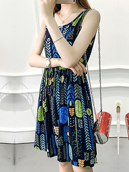 Blue Colorful Plus Size Slim A-Line Printed Round Neck Adjustable Waist Band  Fit & Flare Knee Length Dress for Casual Party
