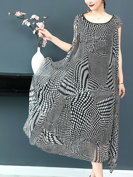 Black and White Plus Size Loose Printed Round Neck Asymmetrical Hem Midi Dress for Casual Party