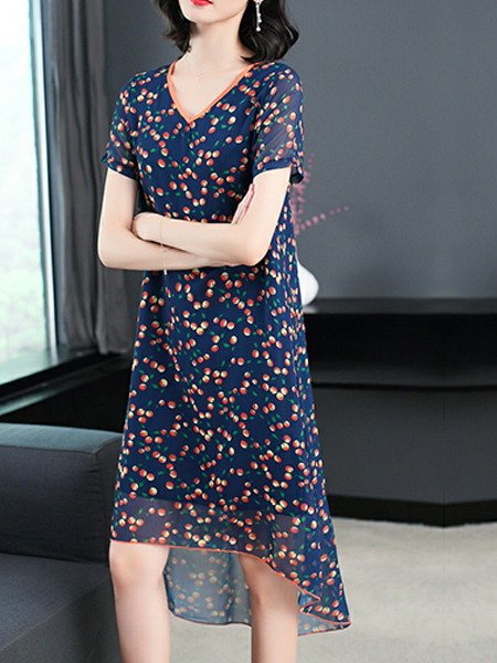 Blue Colorful Plus Size Slim Floral A-Line V Neck Asymmetrical Hem Double Layer Shift Midi Dress for Casual Party