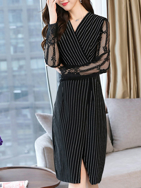 Black Plus Size Slim Contrast Stripe Cross V Neck Linking Mesh See-Through Over-Hip Furcal Sheath Knee Length Long Sleeve Dress for Casual Office Party