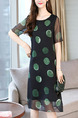 Black and Green Plus Size Slim A-Line Round Neck Contrast Wave Point Double Layer See-Through Shift Knee Length Dress for Casual Party