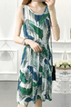 White Green and Blue Plus Size Slim A-Line Printed Round Neck Adjustable Waist Band Tropical Fit & Flare Above Knee Dress for Casual Party