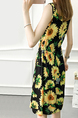 Black and Yellow Plus Size Slim A-Line Printed Round Neck Adjustable Waist Band Sunflower Fit & Flare Above Knee Dress for Casual Party