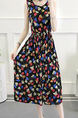 Colorful Plus Size Slim A-Line Printed Round Neck Adjustable Waist Band  Midi Dress for Casual Party