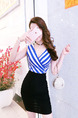 White Blue and Black Slim Contrast Linking Stripe Cross V Neck Over-Hip Bodycon Above Knee Dress for Casual Party Nightclub