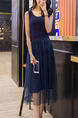 Blue Loose A-Line Round Neck Linking Mesh Double Layer Shift Midi Dress for Casual Party