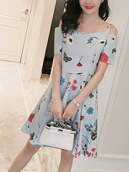 Blue Colorful Slim A-Line Pleated Printed Sling Off-Shoulder Fit & Flare Above Knee Dress for Casual Office Party