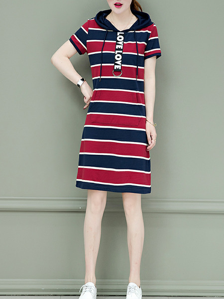 Black and Red Slim Hooded Contrast Stripe Above Knee Shift Dress for Casual