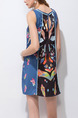 Navy Blue Colorful Slim Printed Above Knee Shift Dress for Casual Party