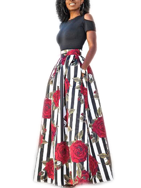 Black and White Colorful Slim Off-Shoulder A-Line Printed Maxi Two-Piece Floral Dress for Party Evening Cocktail
