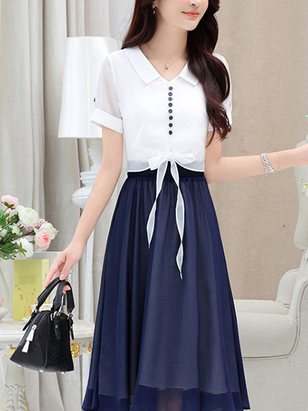 White and Navy Blue Slim Contrast Midi Two-Piece Midi Dress for Casual Party