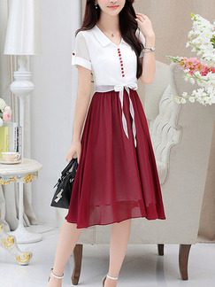 White and Wine Red Slim Contrast Midi Two-Piece Midi Dress for Casual Party