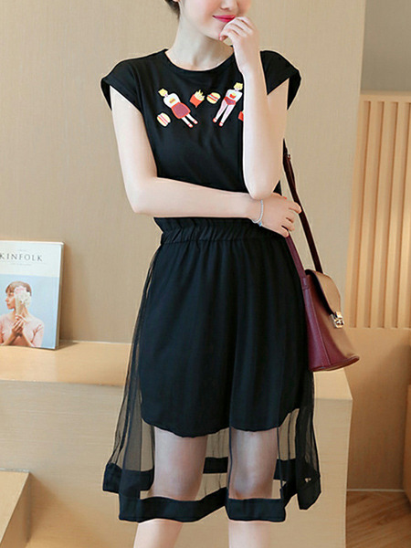 Black Slim Pattern Linking Mesh Midi Fit & Flare Dress for Casual Party
