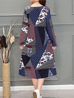 Colorful Loose Printed Midi Long Sleeve Shift Dress for Casual Party