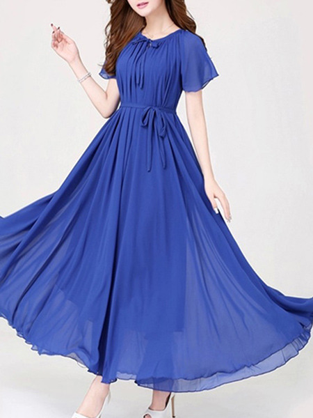 Royal Blue Loose Band Maxi Dress for Party Evening Cocktail