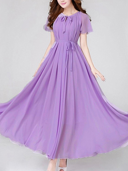 Purple Loose Band Maxi Dress for Party Evening Cocktail