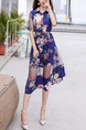 Colorful Slim Printed Band Belt Midi Fit & Flare Floral Dress for Casual Party