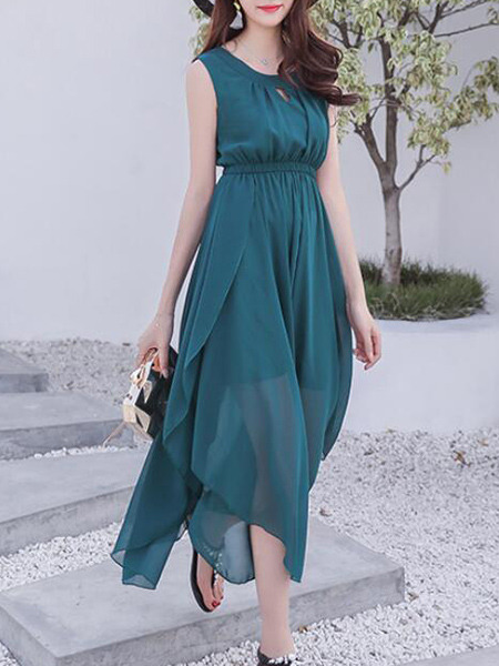 Dark Green Slim Furcal See-Through Maxi Fit & Flare Dress for Casual Party