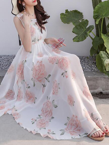 White Colorful Slim Printed Maxi Fit & Flare Floral Dress for Casual Party