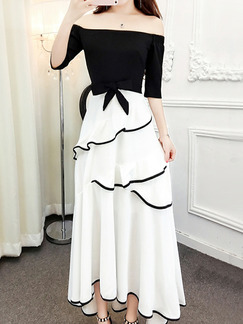 Black and White Slim Off-Shoulder Ruffle Maxi Dress for Party Evening Cocktail Prom