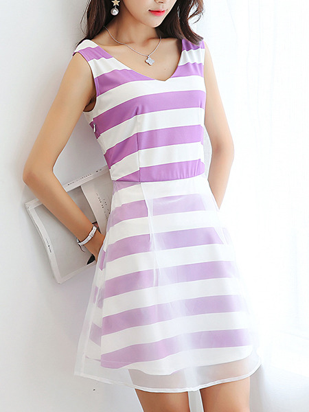 Purple and White Slim A-Line Stripe Mesh Above Knee Fit & Flare V Neck Plus Size Dress for Casual Party