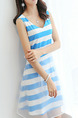 Blue and White Slim A-Line Stripe Mesh Above Knee Fit & Flare V Neck Plus Size Dress for Casual Party