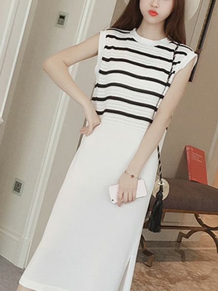 White and Black Loose Linking Stripe Midi Shift Dress for Casual Party